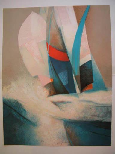 Claude GAVEAU - Grabado - Les voiles,1985.