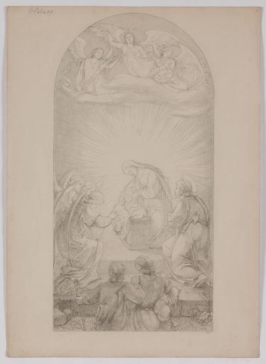 "Carl VON BLAAS - Drawing-Watercolor - ""Adoration of Shepherds"", Nazarene Drawing by Carl von Blaas"