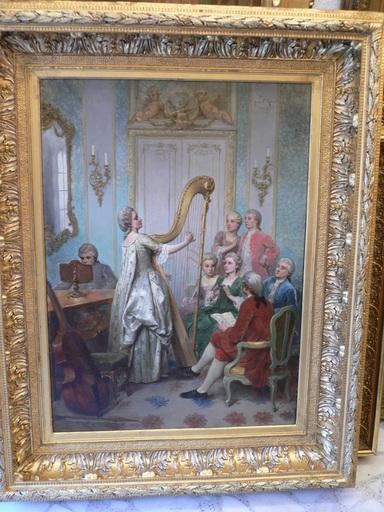 Juan Antonio GONZALEZ - Painting - tocando el arpa