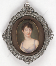 "Jean-Baptiste AUGUSTIN - Miniatura - ""Lady in muslin dress"", important miniature on ivory!, 1803"