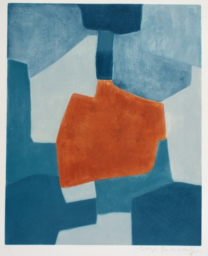 Serge POLIAKOFF - Estampe-Multiple - Composition in Blue and Red XXXI