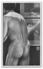 Michael LEONARD - Drawing-Watercolor - Man's Back and Reflections