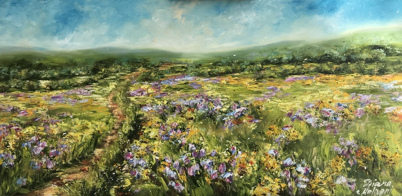 Diana MALIVANI - Pittura - A Path in the Bluebells