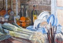 Anne DE LARMINAT - Painting - Poireaux et pinceaux