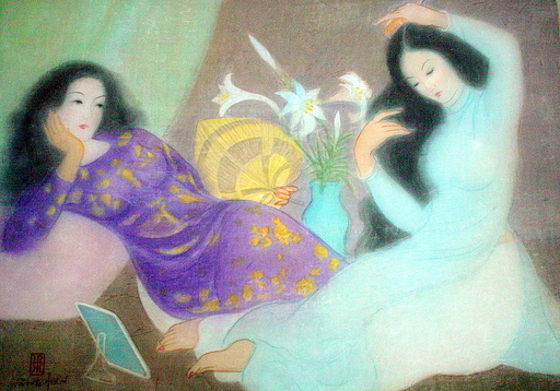 """Nang Hien LE - Painting - """"La conversation"""""""