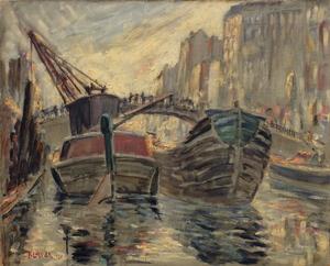 Fernand LAVAL, Péniches à quai