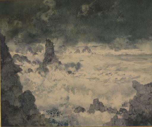 Ernest Pierre GUÉRIN - Dibujo Acuarela - Belle-Ile, le Sphinx