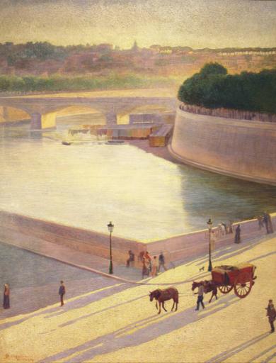 Pietro MENGARINI - Gemälde - Tramonto sul Tevere (1908)