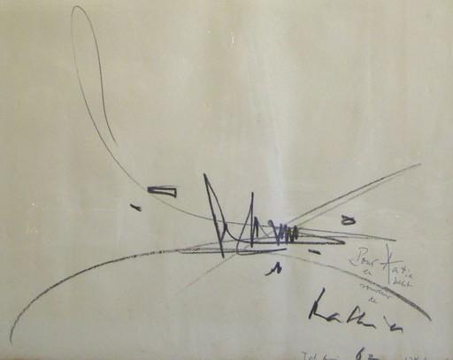 Georges MATHIEU - Dessin-Aquarelle - Composition,1962