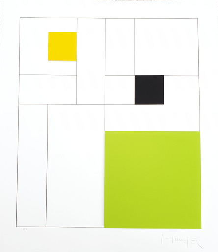 Gottfried HONEGGER - Estampe-Multiple - Composition 3 carrés 3D (vert, noir, jaune)