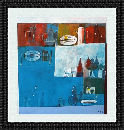 Zurab GIKASHVILI - Painting - Blue still life