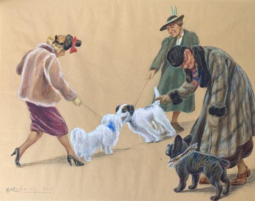 Amelia MECHERINI - Zeichnung Aquarell - Signore a spasso con i cani