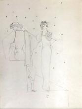 Jean COCTEAU - Drawing-Watercolor - Robes du soir sur fond étoile