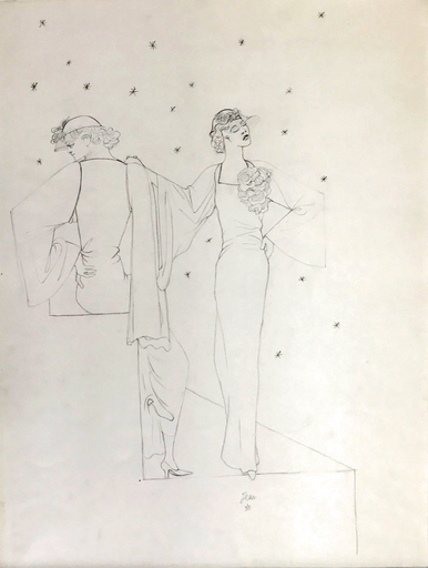 Jean COCTEAU - Dibujo Acuarela - Robes du soir sur fond étoile