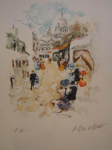 Urbain HUCHET - Estampe-Multiple - Le Sacré Coeur à Paris,1986.