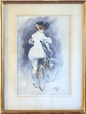 Karl HAPPEL - Dibujo Acuarela - Elégantes à bicyclettes -  (Elegante Dame mit Fahrrad)