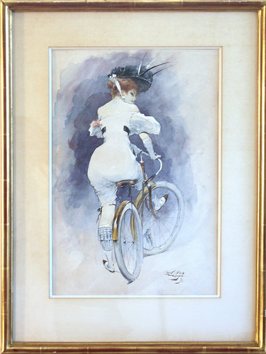 Karl HAPPEL - Drawing-Watercolor - Elégantes à bicyclettes -  (Elegante Dame mit Fahrrad)