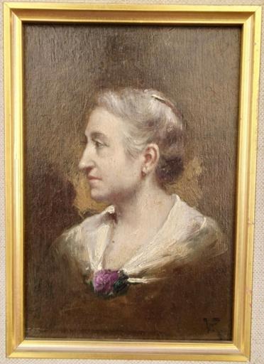 Charles Victor THIRION - Pintura - Lady profile portrait