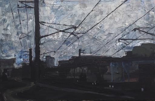 "Viktoria VOLOSHINA - Painting - Diptych ""Acceptance"" Part 1 industrial landscape depression"