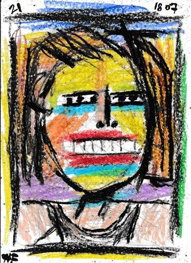 Harry BARTLETT FENNEY - Drawing-Watercolor - blonde hair black vest #2 (18 07 21)