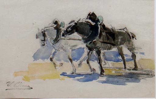 """Ulpiano CHECA Y SANZ - Drawing-Watercolor - Madrid  - canteras  -""""Acarreo """""""