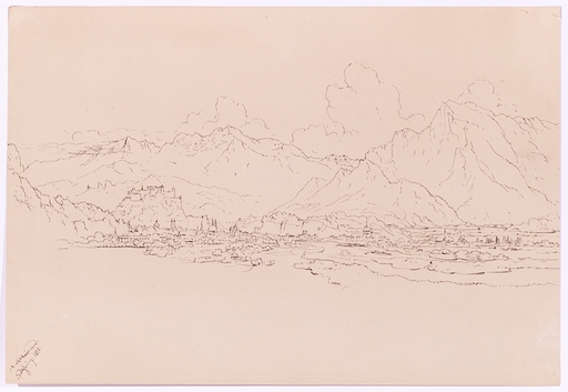 "Anton II ALTMANN - 水彩作品 - ""View of Salzburg"", Drawing, 1835"