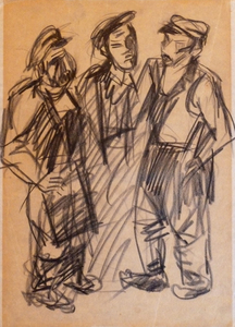 Issachar Ber RYBACK - Drawing-Watercolor - Three Workers