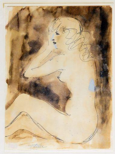 Jules FEHR - Drawing-Watercolor - Nu de Profil