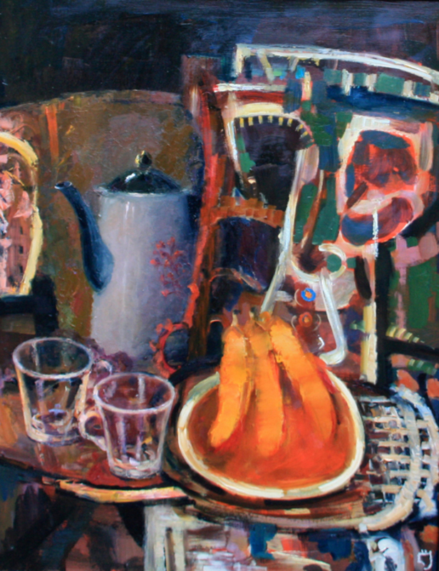 Levan URUSHADZE - Painting - Still life with bananas