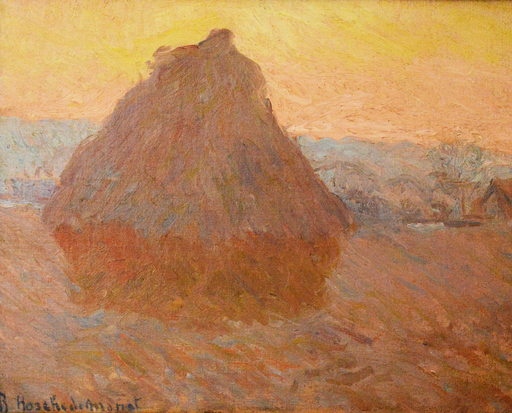 Blanche HOSCHÉDÉ-MONET - Painting - Grainstack in Giverny, Executed next to Claude Monet