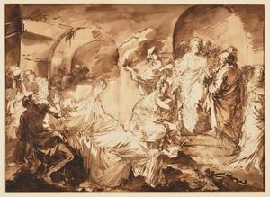 André Jean LEBRUN - Drawing-Watercolor - La résurrection de Lazare