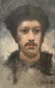 Francesco Paolo MICHETTI - Zeichnung Aquarell - Selfportrait