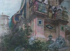 Georges CLAIRIN - Dibujo Acuarela - Le balcon