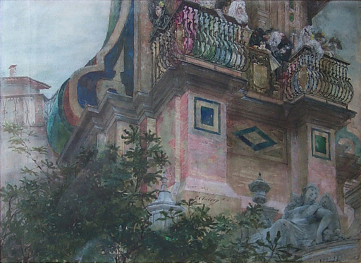 Georges CLAIRIN - Drawing-Watercolor - Le balcon