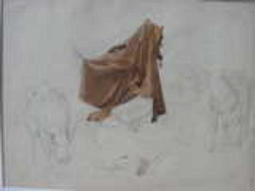 Franz KAISERMANN - Dessin-Aquarelle - manteau sur char romain