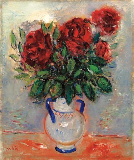 Reuven RUBIN - Painting - Vase of Roses