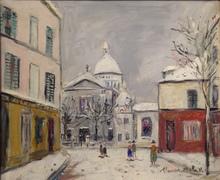 Maurice UTRILLO - Painting - Église Saint-Pierre et Sacré-Coeur de Montmartre sous la nei