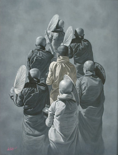 Aung Kyaw HTET - Painting - Monks in Shades of Grey