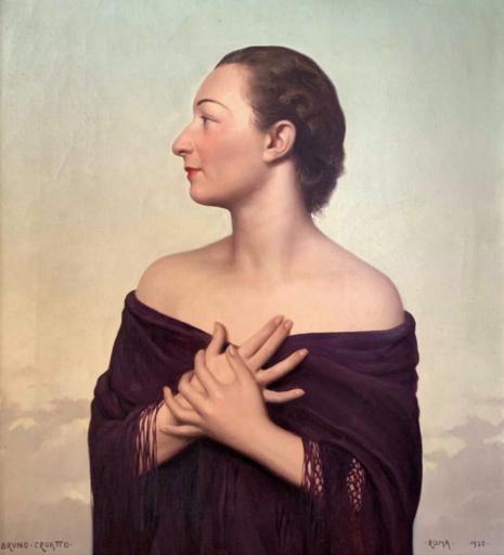 Bruno CROATTO - Gemälde - Ritratto femminile con scialle (1938)