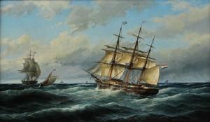 Cornelis Christiaan DOMMELSHUIZEN - Painting - MARINE A TEXEL