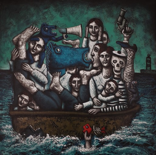 Nicolas MONJO - Pintura - Qui vont sur l'eau