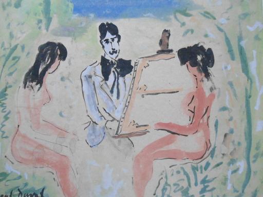 Marcel DUVAL - Peinture - Le peintre et ses modèles.