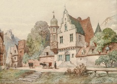 Guillaume VAN DER HECHT - Drawing-Watercolor - Paysanne avec ses vaches traversant un village