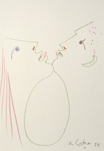 Jean COCTEAU - Drawing-Watercolor - Man and Woman Chin to Chin