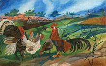 Antonio LIGABUE (1899-1965) - Gallo con tacchino, galline e paesaggio agreste