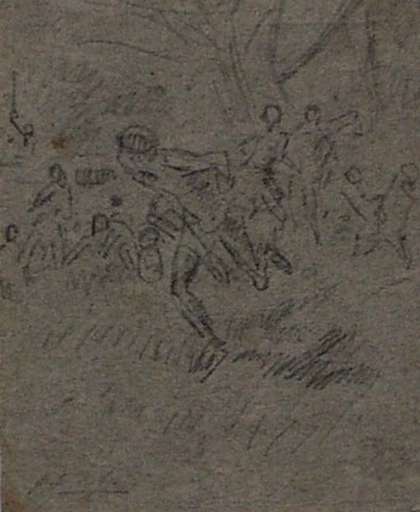 """August Ritter VON PETTENKOFEN - Zeichnung Aquarell - """"Attack"""", late 19th Century"""