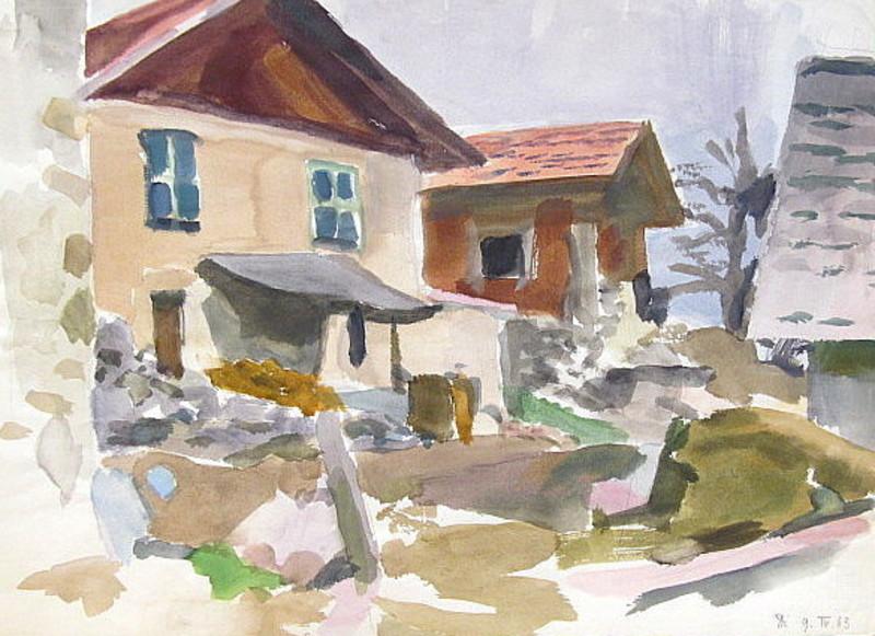 Erich HARTMANN - Disegno Acquarello - Bauernhof in den Alpen
