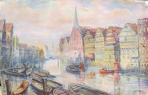A.O NOAH - 水彩作品 - Deichstraßenfleet - Hamburg