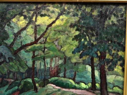 Marcel BELLE - Pittura - Sous-bois près de Paris circa 1921