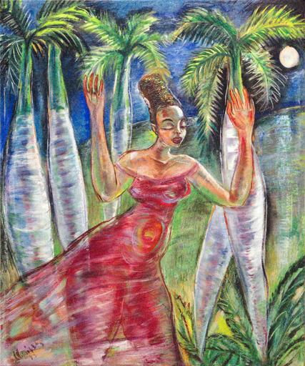 Carlos ENRIQUEZ GOMEZ - Peinture - Mulata a la Luz de la Luna